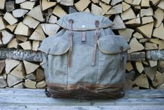 The Swiss Army alpine rucksack has a central chute that is perfect for holding your fishing rods, shovel, hiking sticks, or rifle. Let us know if you use it for something we hadn't mentioned! This one if from 1944 and it is in very good condition for its age.  Linkin.bio @curialswissarmy Olive Green Color, Green Colors, Swiss Army Backpack, Fishing Backpack, Vintage Backpacks, Leather Conditioner, Fishing Rods, Saddle Leather, Back Strap