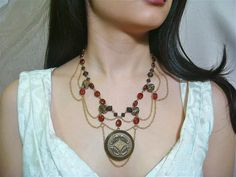 Items similar to Victorian Steampunk Locket Necklace, Red Glass & Antique Brass Beads and Chain - Item on Etsy Steampunk Crafts, Steampunk Design, Victorian Steampunk, Locket Necklace, Washer Necklace, Red Glass, Antique Brass, Beads, Chain