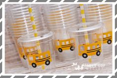 School Bus Birthday Party-Kids Party Cups-Farm by PartyCupMedley