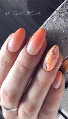 Minimalist Nails, Orange Nail Designs, Nail Art Designs, Classy Nails, Stylish Nails, Bling Acrylic Nails, Pink Nails, Orange Ombre Nails, Sophisticated Nails