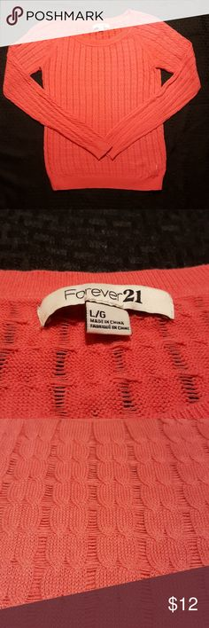 Forever 21 Knit Sweater Lightweight coral sweater. Super soft Forever 21 Sweaters