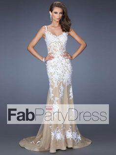 Trumpet / Mermaid Spaghetti Straps Applique Sleeveless Floor-length Lace Prom Dresses / Evening Dresses - FabPartyDress.com