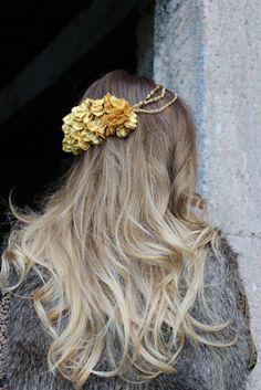 Corona flores dorada reversible