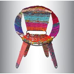 This impressively unique chair is a brilliant addition to one's collection for a bright and bold pop of color. Pieces of recycled fabric are woven together with an iron frame for comfortable and eclec