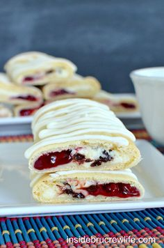 Raspberry Chocolate Chip Cheesecake Rolls - chocolate chip cheesecake and raspberry pie filling baked inside a Pillsbury crescent roll