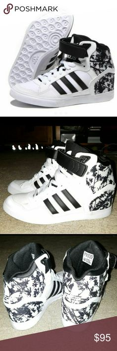 Adidas originals extaball up hightop NWOT Adidas originals extaball up w black white tree womens wedges shoes. This is a neat and nice looking women's shoes you can wear this with skinny jeans, jogger pants, shorts or even sport skirts. The color is black and white so it can easily match whatever color of clothes you are wearing.   Shoe Size USA        7 UK.         5      1/2 FR.         38    2/3 JAP     240     CHN    235  Price is firm adidas Shoes Athletic Shoes