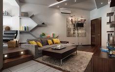plafond suspendu blanc avec un éclairage intégré dans le slaon moderne