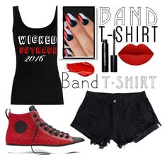 """""""BandShirt"""" by bmcgowan1412 ❤ liked on Polyvore featuring Twenty, Converse, Elegant Touch, Bobbi Brown Cosmetics, Urban Decay, bandtshirt and bandtee"""