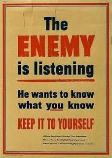 Historical WWII security poster. The enemy is listening. Security Poster Library