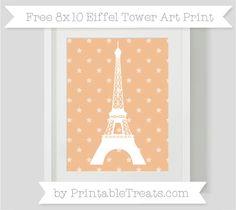 Pastel Orange Star Pattern  8x10 Eiffel Tower Art Print