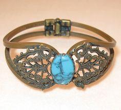 Vintage Copper Bracelet Turquoise Gem by VintageJewelsAndMore, $22.00