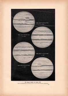 1900 jupiter planet original antique celestial astronomy print. $12.50, via Etsy.