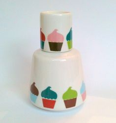 Moringa em porcelana 350ml decorada com cupcake