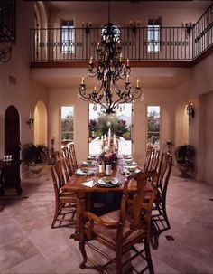 Spanish design - interior balcony and a grand dining room (imagine this dressed for the holidays *!!*)
