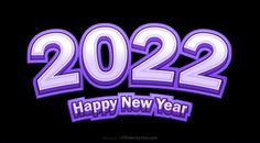 Free Happy New Year 2022 Purple and Black Background