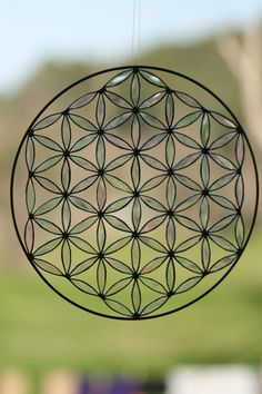 Sacred geometry suncatcher flower of life stained glass by Mownart, $140.00