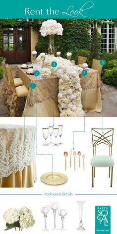 Taking inspiration from a royal wedding, this luxe lace tabletop and floral runner is a dramatic look for any wedding inside or out. Inspired by The Knot : 9 Flower Table Runners You'll Love!  1) Lace Linens & Table Topers 2) Gold Lined Charger Plate  3) Gold Rimmed Glassware 4) Gold Solo Cutipol Cutlery 5) Chameleon Chair