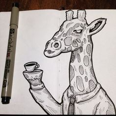 Giraffe with class #inktober 14/31 #moleskine #micronpen #micron #ink #doodle by inkurable