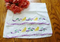 Vintage Embroidered Pillowcases Bedding Purples by vintagelady7