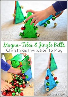 Simple Christmas invitation to play for toddlers and preschoolers using Magna-Tiles and jingle bells from And Next Comes L activities Christmas STEM Activity for Kids with Magna-Tiles & Jingle Bells Toddlers And Preschoolers, Holiday Activities, Stem Activities, Activities For Kids, Christmas Activities For Toddlers, Noel Christmas, Simple Christmas, Xmas, Christmas Decor