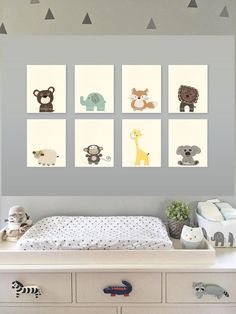 Nursery decor Baby Nursery Art Nursery Art Decor Close-up portraits Set of Prints Elephant Brown Tan Safari animals Navy Giraffe Monkey Fox