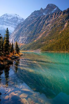 #Cavell Lake (Jasper National Park, Canada) by Ron NIebrugge.