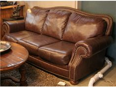 Ashley Brown Leather Sofa