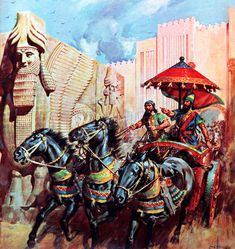 The southern kingdom of Israel was conquered by the Babylonians, but the northern kingdom fell to the Assyrians in 721 BC. They were merciless conquerors and besides decapitating many people also drove out around ten of the original twelve tribes of Israel. Our picture shows the colourful chariot of the Assyrian king, Sargon II, and was painted by James E. McConnell.