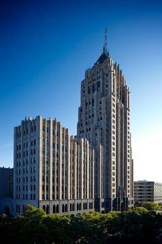 The ornate Art Deco designed Fisher Building | a landmark skyscraper in the United States | circa 1928