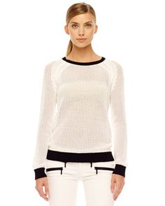 MICHAEL Michael Kors  Mesh Contrast-Trim Sweater.