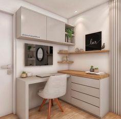 """Como Montar Um Home Office: 5 Dicas Essenciais! Não sabe por onde começar e fica se perguntando como montar um #homeoffice ? Confira essas 5 dicas! Se você gosta de tons mais claros, e um estilo """"Pinterest""""... Home Office Decor, Office Desk, Home Decor, Corner Desk, Table, Furniture, 1, Office Home, Decorative Objects"""