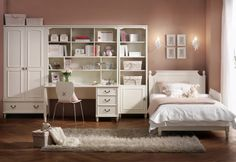 College girl student bedroom interior decorating ideas with white furniture