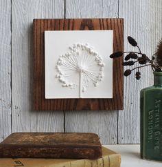 Allium kleine Gips Fliesen montiert auf Holz Botanik Blume