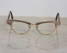 4d9c89b965e2 VINTAGE NOS New Old Stock 1950 s Frame France Sparkly Jeweled Pearly White  Cat Eye Glasses Frames w  Gold Accents