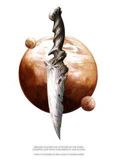 Attitude of the Knife, an art print by Michael Manomivibul - Handlettering Anleitung Dune Series, Dune Frank Herbert, Dune Art, Knife Art, Sketch Inspiration, Fantasy Weapons, Science Fiction Art, Cool Paintings, Sci Fi Art
