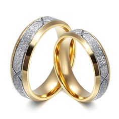 Trendy Wedding Bands Rings for Love Gold Color CZ Zirconia Stainless Steel Ring Couples Alliance Anillos