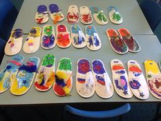 The Elves and the shoemaker have been very busy. These cheap disposable slippers were fantastic to decorate and look great as part of our display.