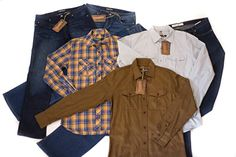 www.bulletbluesca.com #menswear #madeintheUSA featuring mean's #jeans and button-up shirts