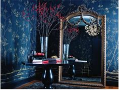 The blue & red work do well. The gloss black table is the glamourous touch