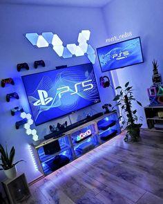 Blue Playstation Console Gaming Setup Idea