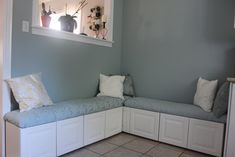 DIY Ikea hack banquette from Lidingo cabinets