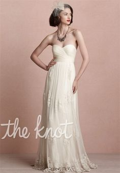 BHLDN    Luella Gown    Gown features lace and ruching.    Silhouette: A-Line  Neckline: Strapless, Sweetheart  Gown Length: Floor  Fabric: Silk Tulle, Lace, Silk Satin  Embellishments: Lace  Color: Ivory  Size: 0 - 14