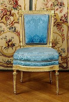 Notice the difference between the upholstery and how full it looks in a period Versailles chair? Did you know the rolled form were often filled with horsehair?