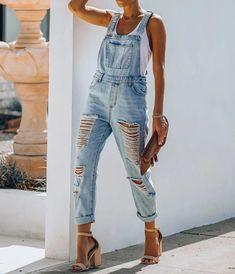 Jumpsuit Outfit, Casual Jumpsuit, Denim Jumpsuit, Denim Fashion, Fashion Outfits, Fashion Clothes, Trendy Fashion, Casual Outfits, Rompers Women