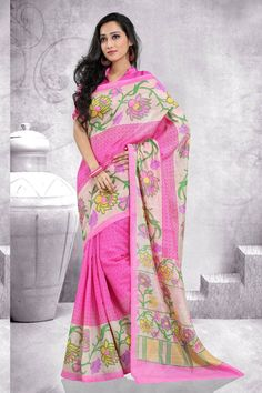 Pink Art Silk Printed Saree For Her