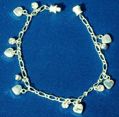 Bracelet silver charm Sterling hearts crystals by ElmsRealm, $20.00