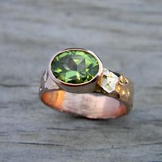 Peridot Ring In Rose Gold Ring in August by onegarnetgirl on Etsy, $1068.00     Love, love, love, love.....