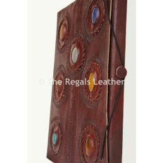 Vintage handmade leather blank journal book antique lock with stone.