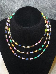 blue yellow white green orange red paper beads necklace Kenya African