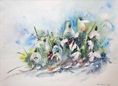 Da sind wir wieder (c) ein Schneeglöckchen Aquarell von Hanka Koebsch Baltic Sea, Watercolor Flowers, Spring, Watercolors, Painting, Art, Floral Watercolor, Painting Art, Kunst